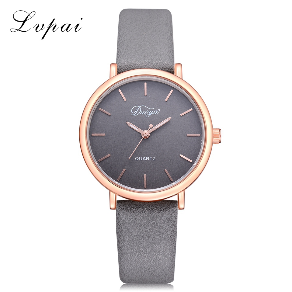 2018 Duoya Top Luxury Brand Rose Gold Dial Fashion Watch Women Quartz Thin Leather Strap Classic Simple Female Wristwatch DY162 fashion brand v6 quartz women watches rose gold steel thin case classic simple dial leather strap ladies watch relogio feminino