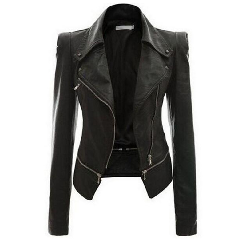 2019 Autumn Women faux Leather Jacket Gothic Black moto jacket Zippers Long sleeve Goth Female PU Faux Leather Jackets Coats