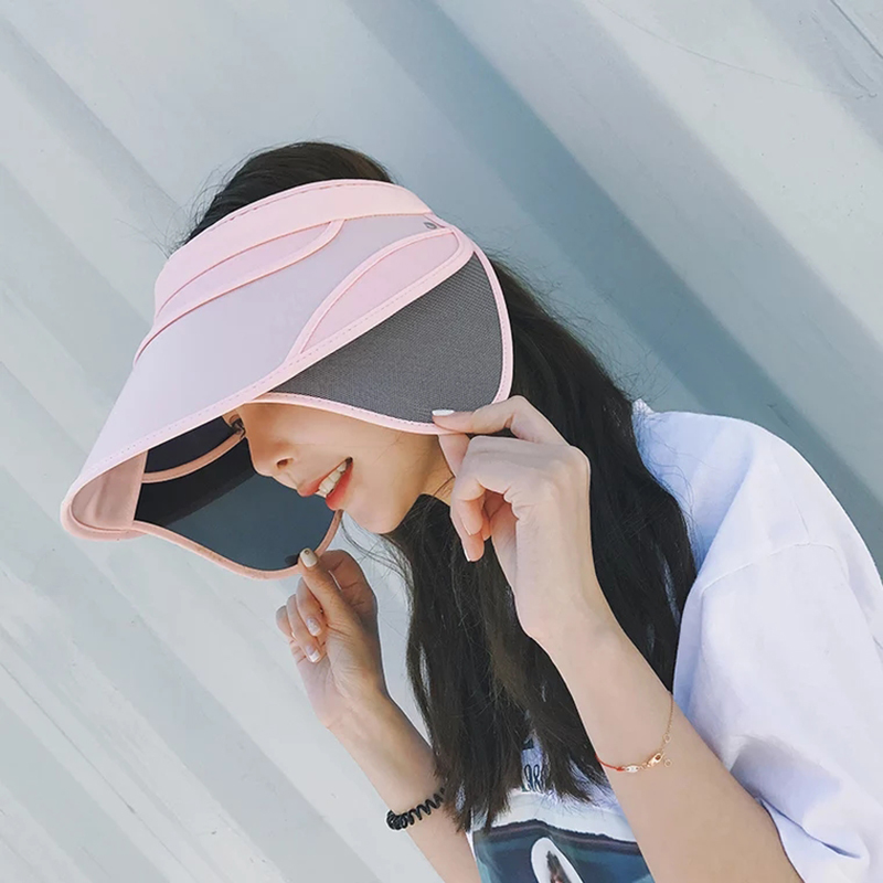 Summer Retractable Visor women Sun Caps Solid Unisex Top Hats Beach UV For Women