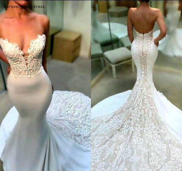 Mermaid Sleeveless Wedding Dresses 2019 Sweetheart Appliqued Backless Garden Country Bride Bridal Gowns Custom Made Plus Size