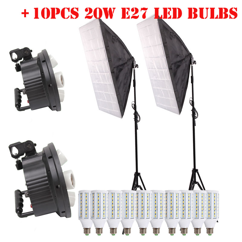 10PCS Lamps E27 LED Bulbs Photography Lighting Kit Photo Equipment+ 2PCS Softbox Lightbox+Light Stand For Photo Studio Diffuser монопод для селфи nubia