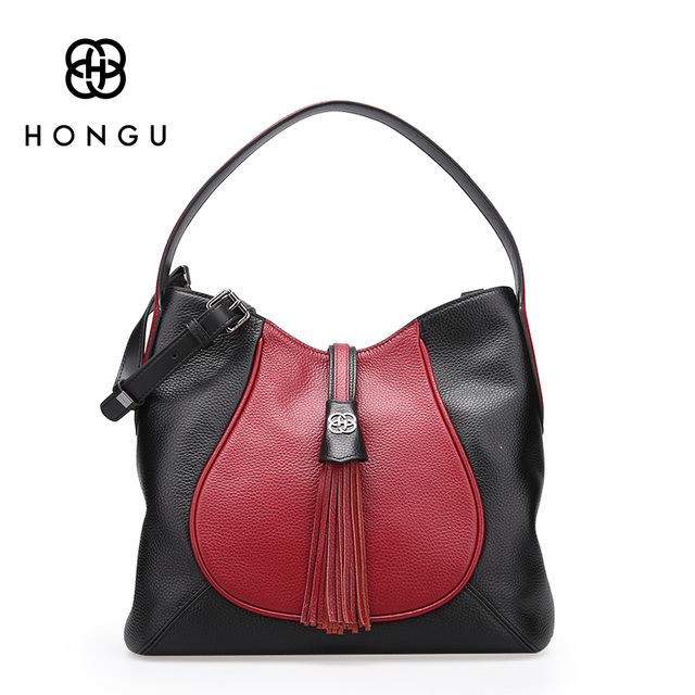 Hongu Light Luxury Genuine Leather Fashion Leisure women shoulder bag lady Tassels Casual Tote Crossbody Hobos bag design louis