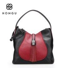 Hongu Light Luxury Genuine Leather Fashion Leisure women shoulder bag lady Tassels Casual Tote Crossbody Hobos bag design louis