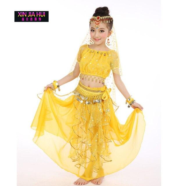 6ac99414cb164 Qualité Indien Sari Filles Robe Orientale Enfant Indien Costumes Pour Enfants  Oriental De Danse Du Ventre
