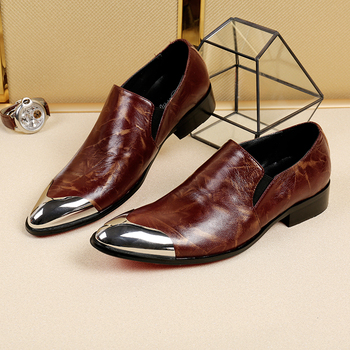 Newest pointed toe slip on men genuine leather shoes top quality brown color formal dress shoes groom wedding oxfords