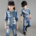 Boy Cowboy suit 2015 New Spring Autumn Boy Jeans Child  Korean Casual Boy Clothing Set Fashion Boy Cowboy Set