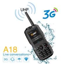 Walkie talkie a18 com telefone esperto impermeável da frequência ultraelevada 3800mah ip68 android4.2.2 sim duplo rádio inteligente gps zello 3g wcdma