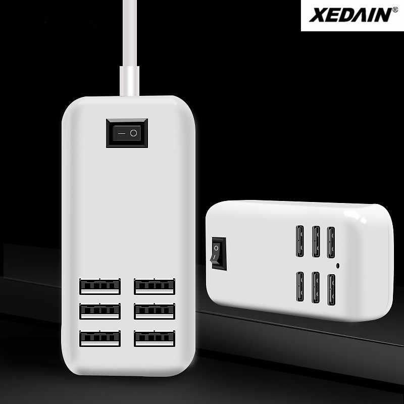 XEDAIN لجميع الهواتف الذكية الوسادة 5 فولت/3A 6 منفذ USB متعددة الجدار الشواحن الذكية محول الشحن السريع الاتحاد الأوروبي/الولايات المتحدة التوصيل شاحن USB للهاتف