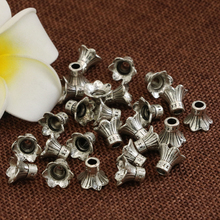 Wholesale price spacers beads caps accessories 10pcs flower shape silver-plated Tibet 9*11mm free shipping jewelry findingsB2530