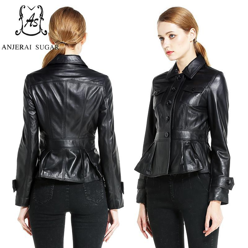 2017 women leather jacket coat Black brown sheepskin genuine leather  motorcycle female sexy OL Slim Button Pleated short jacket