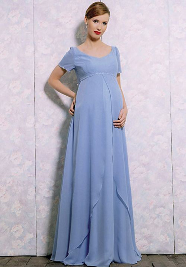 Pregnant Bridesmaid Dress   2016 Long Floor Length Blue Modest Chiffon Maternity Bridesmaids
