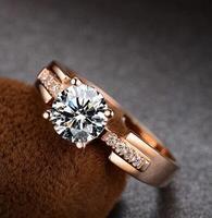 Кольца для Для женщин Тесты положительный белый Муассанит кольцо розового золота Trency обручальное кольцо Fine Jewelry для брак
