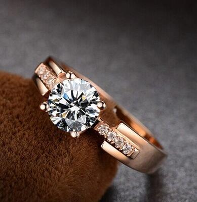 Anneaux pour Femmes Test Positif Blanc Moissanite Anneau Rose Or Trency Alliance Fine Jewelry Pour Mariage