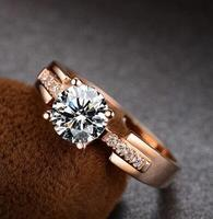 Rings for Women Test Positive White Moissanite Ring Solid Rose Gold Trency Wedding Ring Fine Jewelry For Marriage