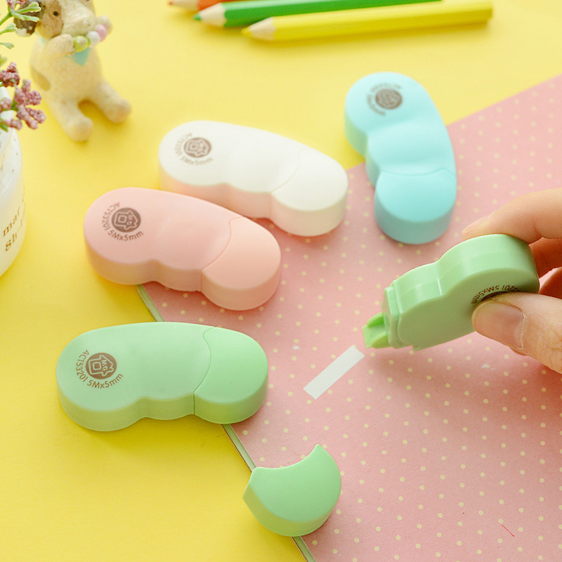 2 Pcs/Lot Cute Lovely Mini Bean-Shaped Correction Tape For School Stationery & Office