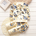 Free shipping,2015 Factory outlet baby clothing set cotton girl flower suit (coat+pants) autumn kids wear open crotch
