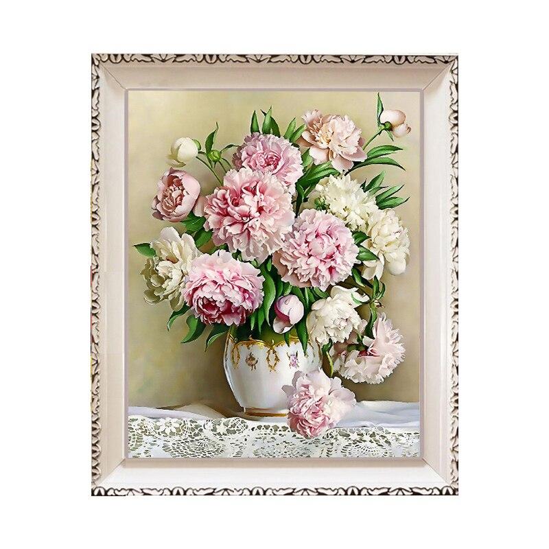 D diy diamond painting flower vase peony full embroidery