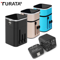Travel Charger TURATA Travel Adaptor 3 2A Dual USB Ports Universal World Wide All In One