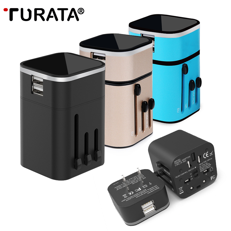 Travel Adapter – TURATA Travel USB Charger 2-Port Universal World Wide All in one Wall Charger Adapter Plug for Home & Travel