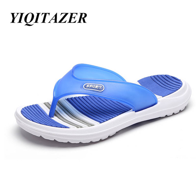 b38cb4cd0ed YIQITAZER 2018 New Design Summer Man Slippers,Waterproof Beach Shoes Men  Casual Shoes Non-slip Blue Red Black