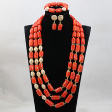 Luxury African Wedding Bridal Coral Jewelry Sets Women Costume Jewelry Sets Big Coral Bead Necklace Set Free Shipping CNR801