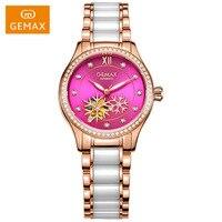 GEMAX Women Watches Automatic Ladies Dress Watches Female Pink Watches Luminous Ceramic Mechanical Watch Luxury Wristwatches