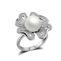 Fashion 925 sterling silver ring.Elegant women pearl ring.Dazzling zircon solid silver ring.Charming lady silver jewelry.gift