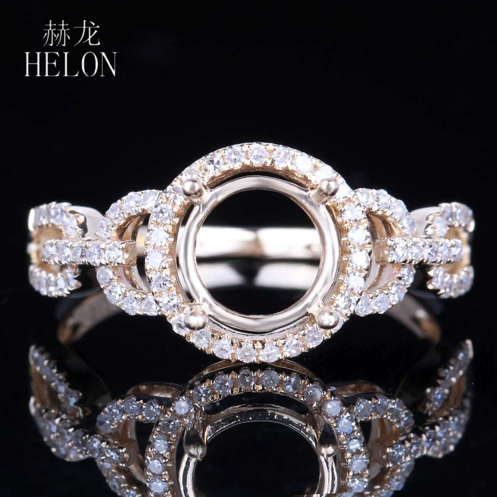 HELON Solid 14k Yellow Gold Round 7mm Semi Mount Ring Setting Engagement Pave Natural Diamonds Ring Wedding Women Trendy Jewelry матрас dimax практик софт хард 500 200x200