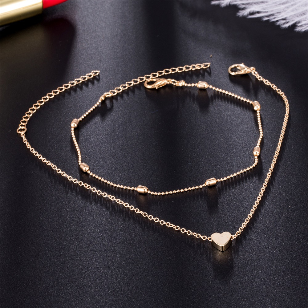 Simple Heart Female Anklets Barefoot Crochet Sandals Foot Jewelry Leg New Anklets On Foot Ankle Bracelets For Women Leg Chain 2