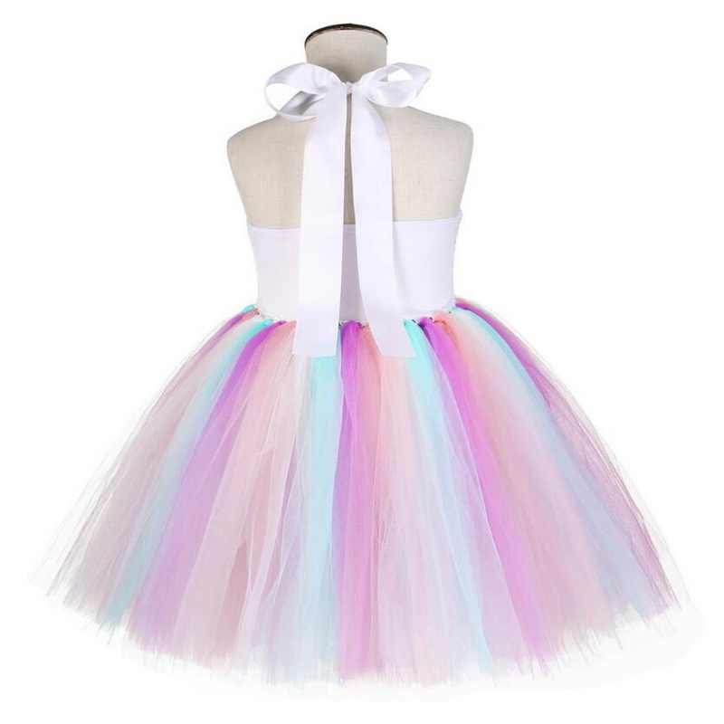 b764c6d57e4 ... Girls Unicorn Pony Costume With Headband Tutu Dress Flower Sequin  Princess Girls Party Dress Children Kids ...