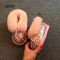 Koovan bebé botas de nieve 2017 niños del bebé niños niñas botas de nieve lindo leopardo de piel de oveja de cuero genuino de la pluma caliente shoes
