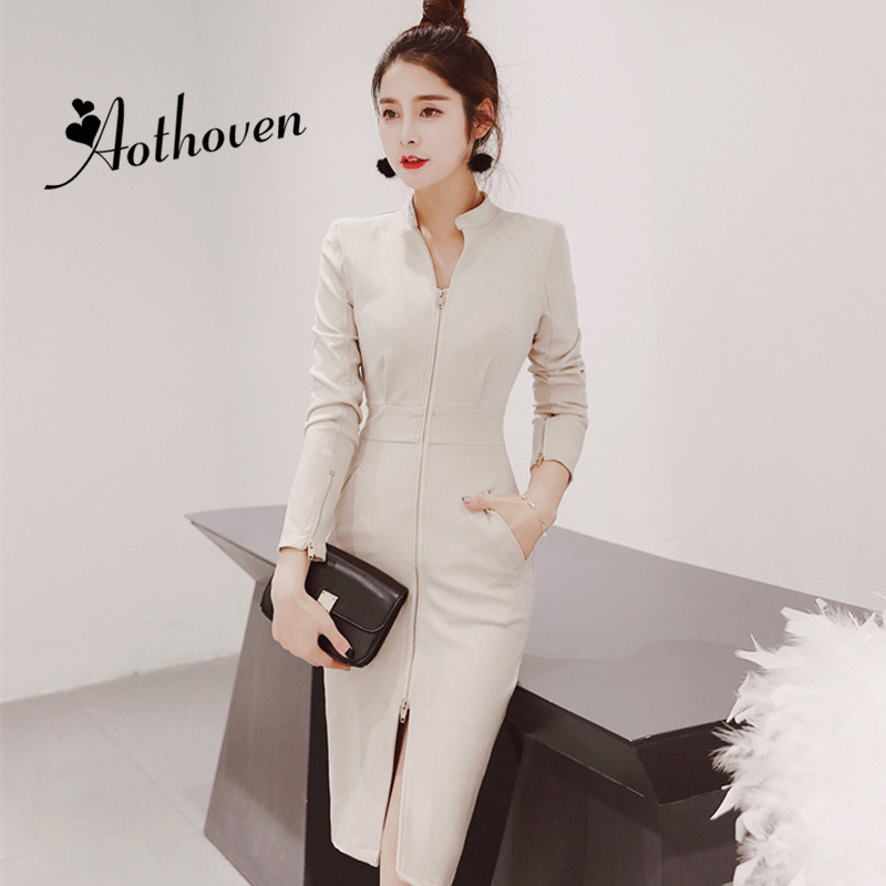 2018 Autumn Zippers Bodycon Dresses Stand Collar Long Sleeve Womens Dress Bandage Office Lady Vintage Party