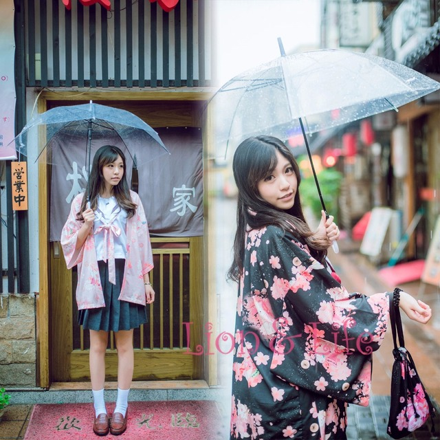 7c3dbb0d9 Summer Matsuri Japanese Women Sakura Cat Print Haori Kimono Yukata Coat  Outwear