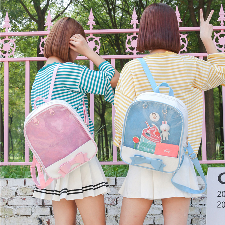 PVC Transparent Clear PU Leather Women Backpack Ita Bag Harajuku Bow School Bag For Teen Girls