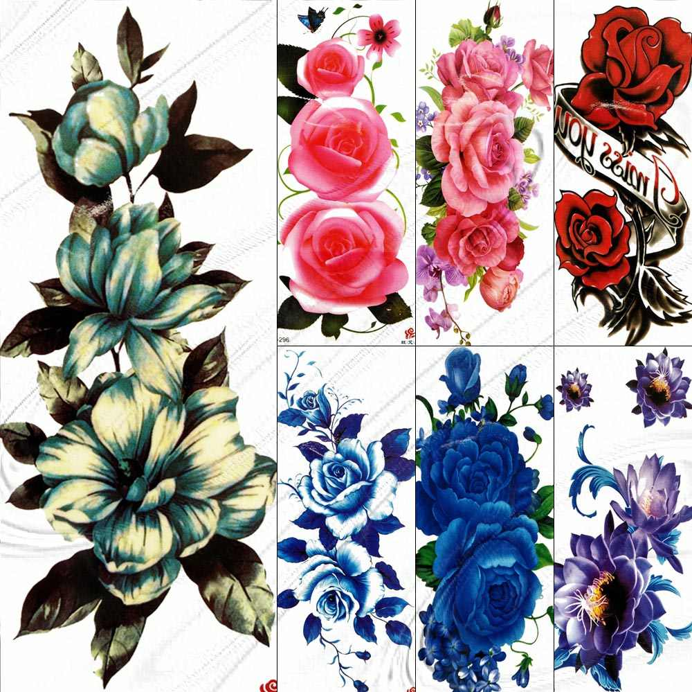 Large Diasy Temporary Tattoo Flower Stickers Women Girl Female Body Art Legs Waterproof Fake Tattoo Paper 3D Rose