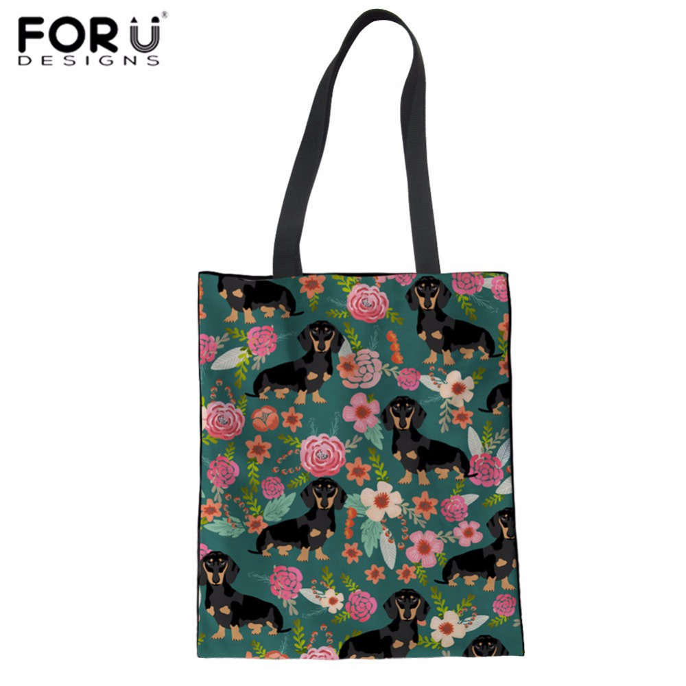 FORUDESIGNS Canvas Shopping Bag Dachshund Print Tote Bag For Travel Women Reusable Cotton Bag Fashion Eco Bag Daily Linen Sacola