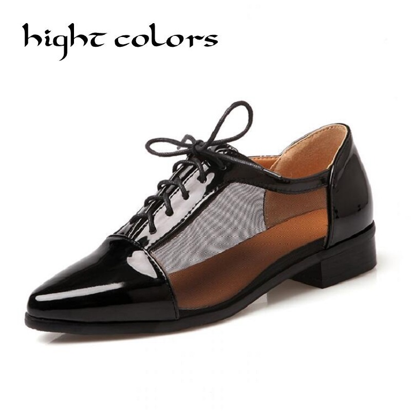 Fashion Retro British Style Heel Patent Leather Shoes Women Deep Mouth Pointed Toe Lace Up Oxfords Flats Plus Size 34-43 2016 new women s fashion shoes spring summer style casual flats lace up pointed toe leather plus size 35 41 loafers for girls