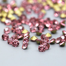 SS0-SS38 Round Pink Rhinestones Glass Strass Pointback Rhinestone Applique Red Fancy Stone Glue On For Wedding Dress Decoration