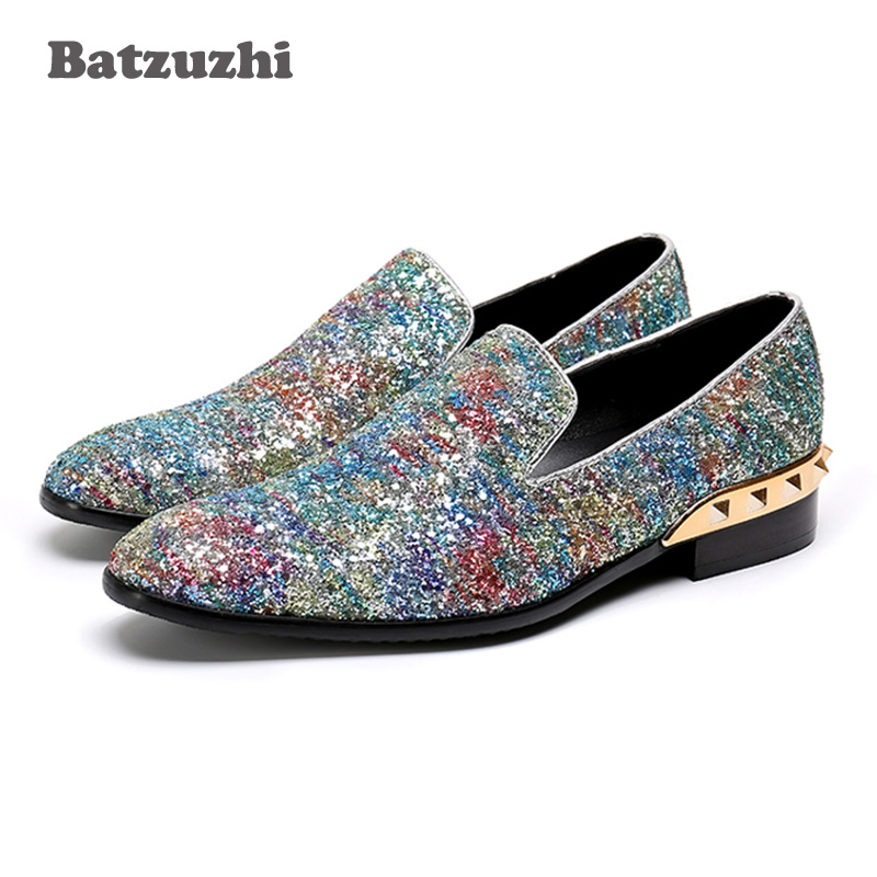 Batzuzhi Luxury Italy Fashion Men Shoes Shinny Glitter Wedding Loafers Men Genuine Leather Men Dress Shoes Party, Big Size 38-46 travel passport holder women girl pasport cover beautiful case for passport travel organizer passport covers for passports