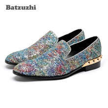 Batzuzhi Luxury Italy Fashion Men Shoes Shinny Glitter Wedding Loafers Men Genuine Leather Men Dress Shoes Party, Big Size 38-46 vivodsicco fashion gold metal signature shark tooth genuine leather men loafers carved bullock party men printing dress shoes
