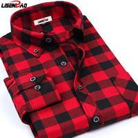 New England Style Casual Men Flannel Plaid Shirts 2015 Spring Luxury Fine Brand Long Sleeved Plus