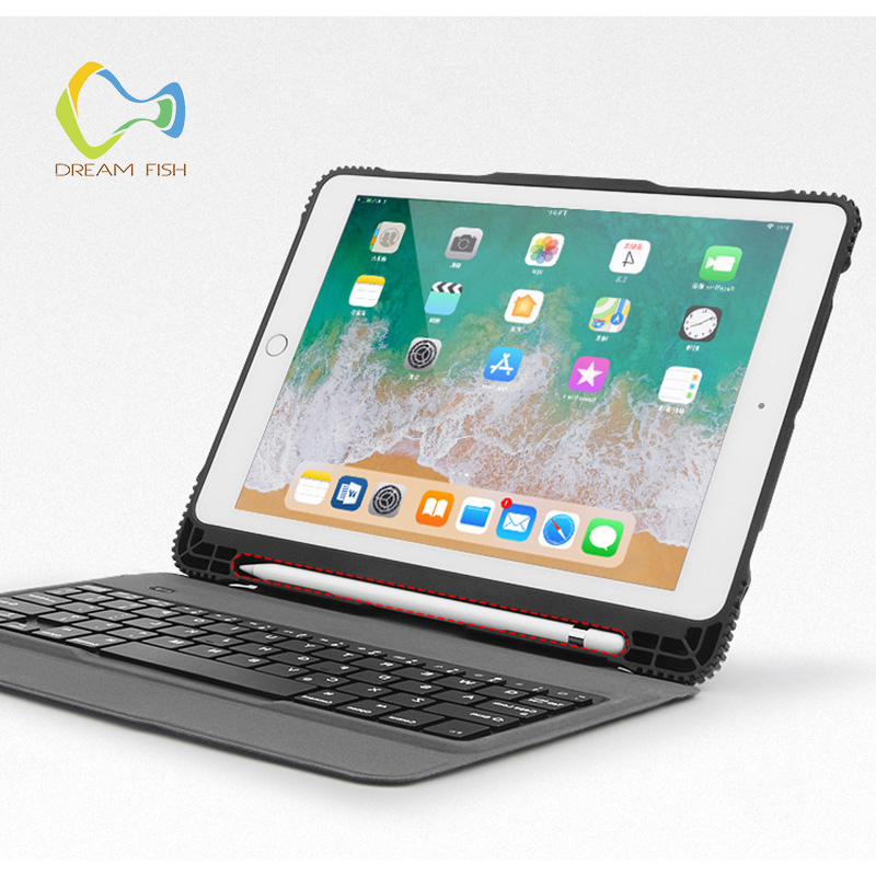 Cover for IPad 2018 Case Wireless Bluetooth Keyboard With Pencil Holder PU Leather Smart Flip Stand For Ipad Gadget A1893 A1954