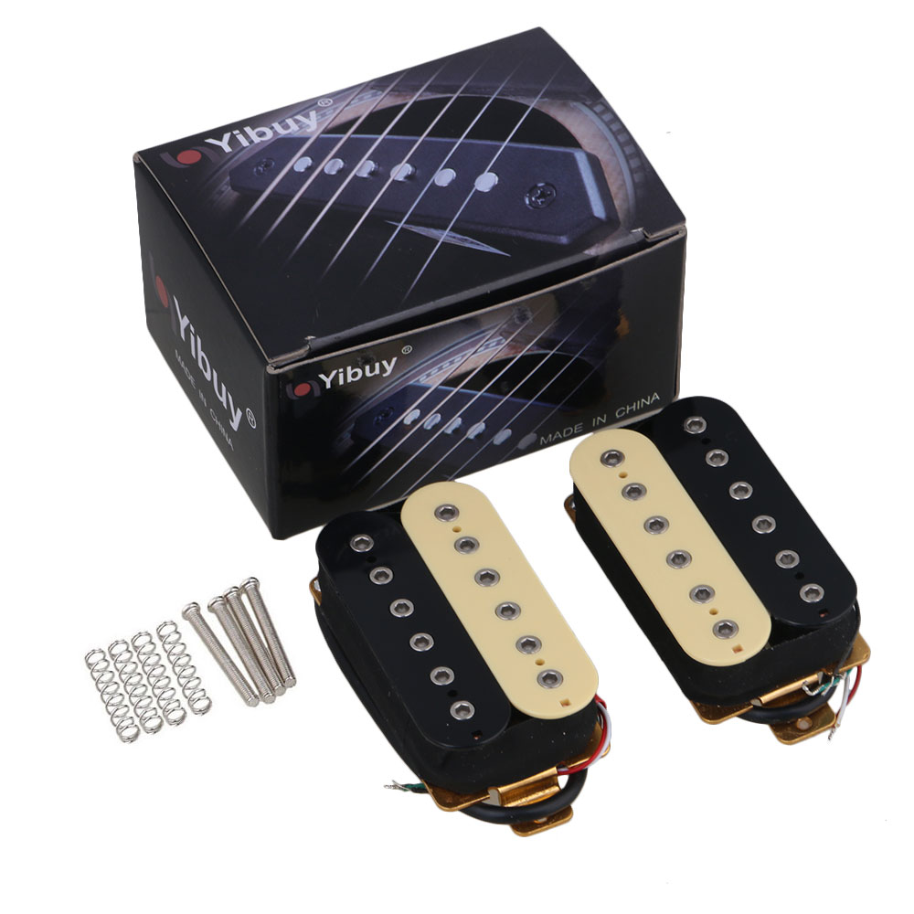 Yibuy One Pair Black y Yellow Instruments Euipment Pastillas de guitarra Humbucker