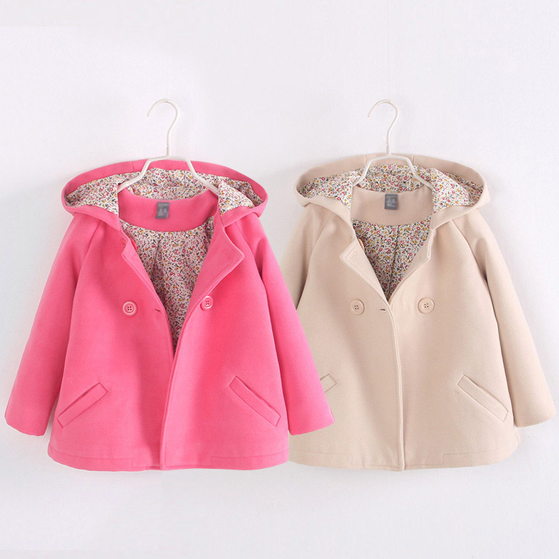 ФОТО  children outerwear 2016 children's autumn and winter clothing child  overcoat double breasted trench girls jacket