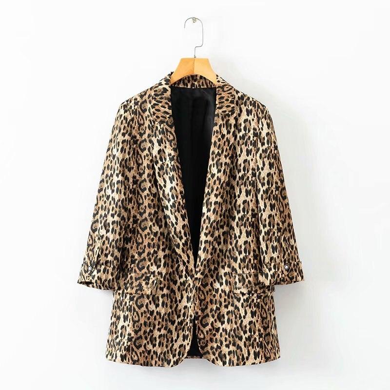 Women Casual Three Quarter Sleeve Leopard Pattern Blazer Autumn Outerwear Loose Suit Coat Office Lady Cardigan Jacket Tops CT109