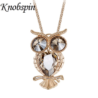 Lovely Animal Owl Pendant Necklace For Women Long Chain Crystal Statement Necklace Costume Jewelry Bijoux Femme
