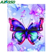 AZQSD Diamond Painting Butterfly Mosaic Animal Cross Stitch Handmade Rhinestones Pictures Full Display Gift Home Decor