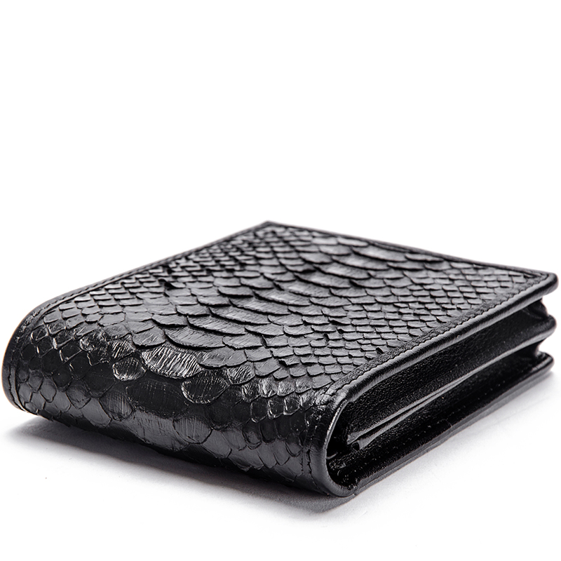 McParko Mens Luxury Wallet Genuine Leather Snakeskin Wallet Python Leather Wallet Men Small Purse Brand New Short bifold Black-in Wallets from Luggage & Bags    3