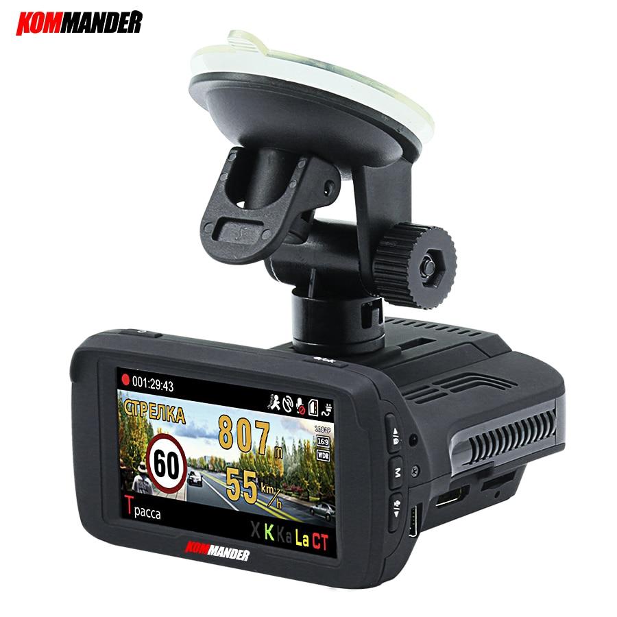 Kommander Ambarella A7LA50 Car Camera Car Dvr Radar Detector built in GPS base of speedcam cameras 3 in 1 Dashcam for Russian