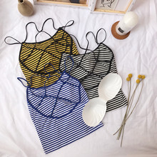 Girls Sexy Hollow-out Short Striped Camis Tops With Seperated Pads Women Backless Padding Tanks Crop For Female